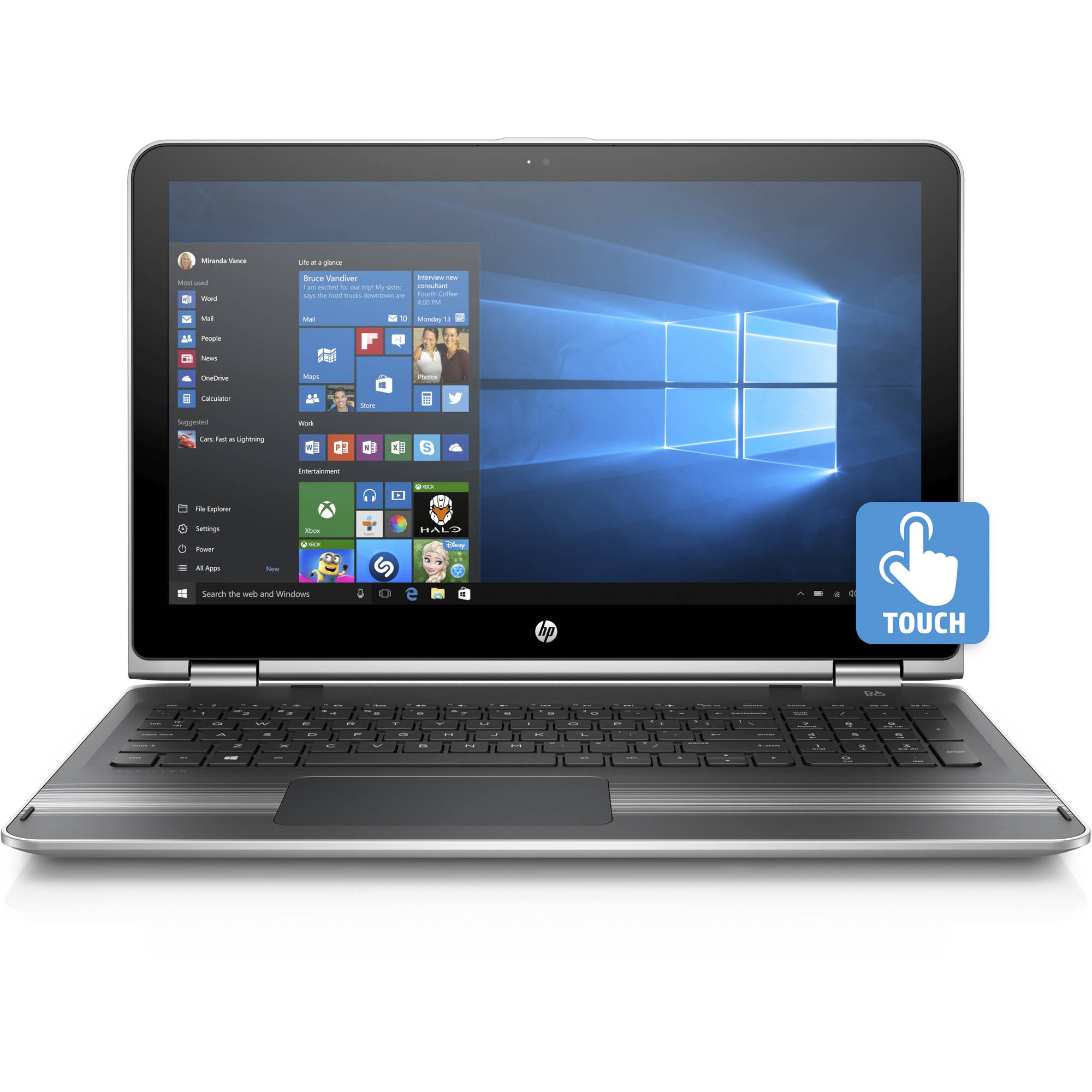 "HP Pavilion 15-bk020wm X360 15.6"" Laptop, Touch Screen, 2 in 1, Windows 10,  Intel Core i5-6200U Processor, 8GB Memory, 1TB Hard Drive, Natural Silver"