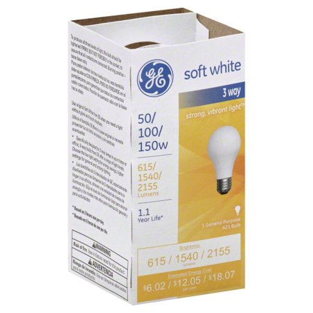 - GE SoftWhite Light Bulb 3-Way 50/100/150 Watt 3 ea