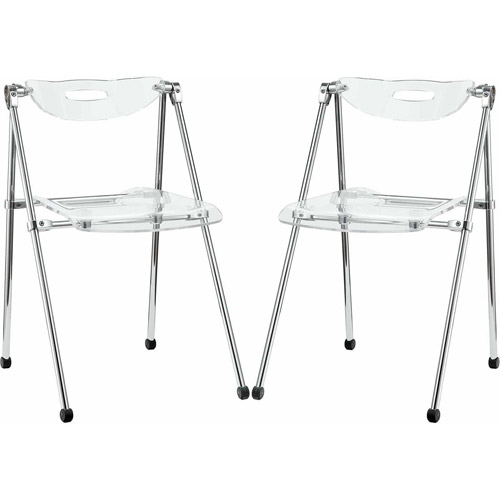 Modway Telescope Folding Dining Side Chair, Set of 2 in Clear