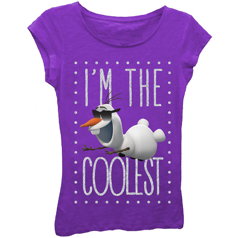 "Disney Frozen Olaf ""I'm the Coolest"" Girls' Princess Graphic Tee T-Shirt"