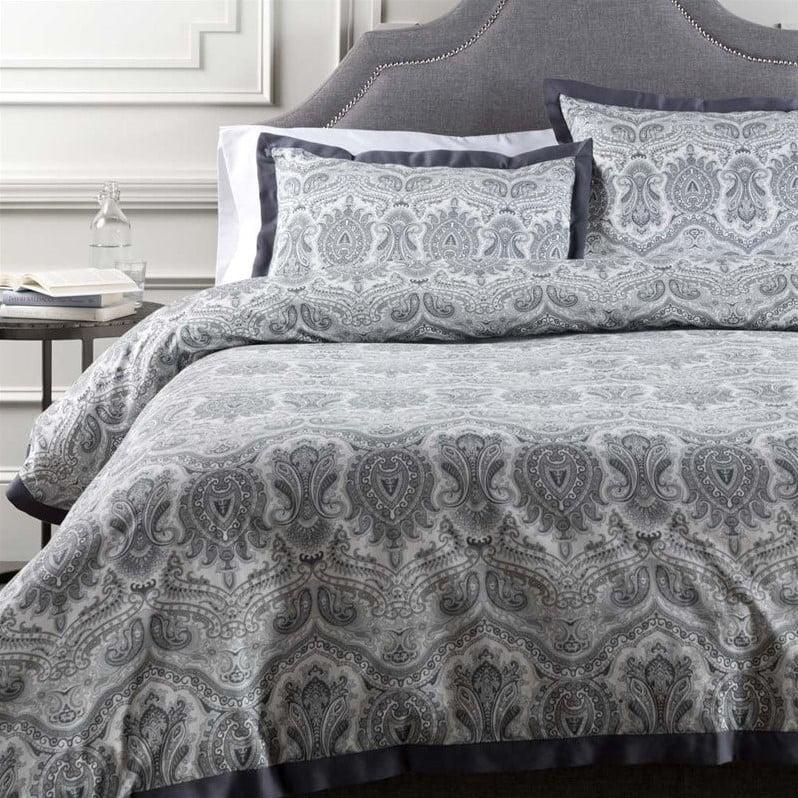 Surya Griffin Woven Cotton Full Queen Duvet in Pewter