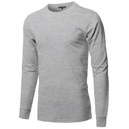 FashionOutfit Men's Causal Solid Basic 100% Ring Spun Cotton Long Sleeve T-shirt Basic Cotton Long Sleeve Tee