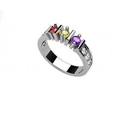 Mother Of Pearl Rose Ring - NANA Stght-Bar w/Side CZs Mothers Ring 1-6 Simulated Birthstones - 10k White Gold - Size 5.5