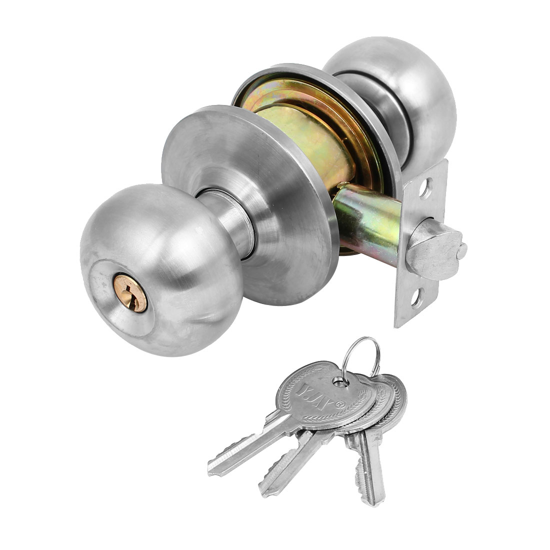 Ball Entry Door Locks with keys Knob Three Knobset Bedroom Bath Stainless Brushed