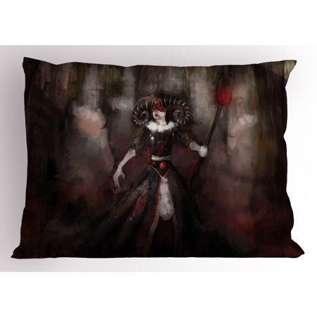 Gothic Pillow Sham Medieval Evil Woman Horns Mask Witch Myth Fantasy Old Fashion Scary Watercolor, Decorative Standard Queen Size Printed Pillowcase, 30 X 20 Inches, Black Red Grey, by Ambesonne