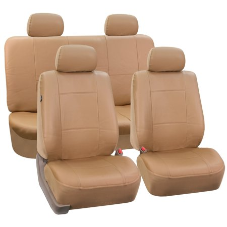 Solid Bench Seat Covers - FH Group  Tan PU Leather Front Low Back Buckets and Solid Bench Car Seat Covers Full Set