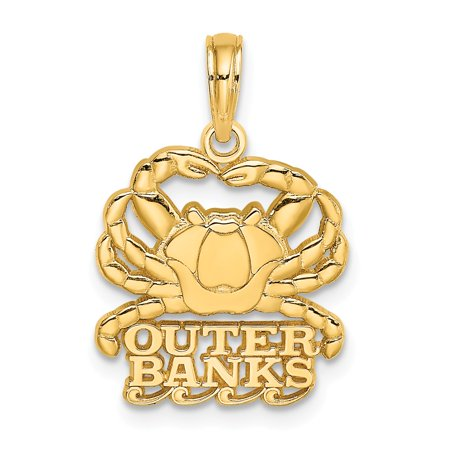 Yellow Gold Crab Charm - 14k Yellow Gold Solid Polished OUTER BANKS Under Crab Charm Pendant