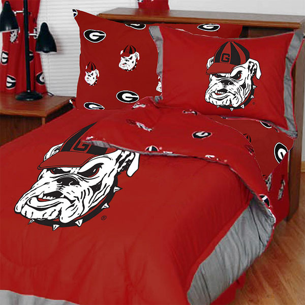 NCAA Georgia Bulldogs Bedding Set Red Cotton Collegiate C...