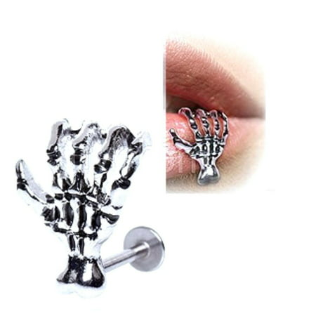 Labret Monroe Anchor 316L Surgical Steel Zombie Skeleton Claw Hand 16g (316l Surgical Steel Top)