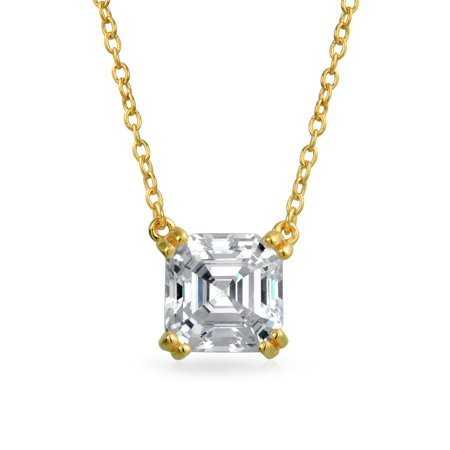 1.5 Ctw Solitaire Square Asscher Cut Cubic Zirconia CZ Pendant Necklace For Women 14k Gold Plated 925 Sterling Silver