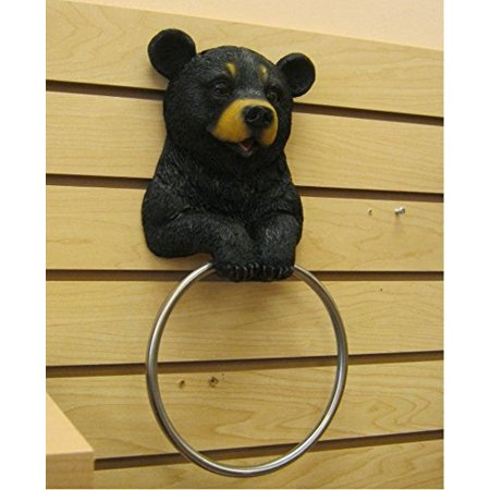 Hugo The Helper Black Bear Towel Holder Decoration - Towel Decorations