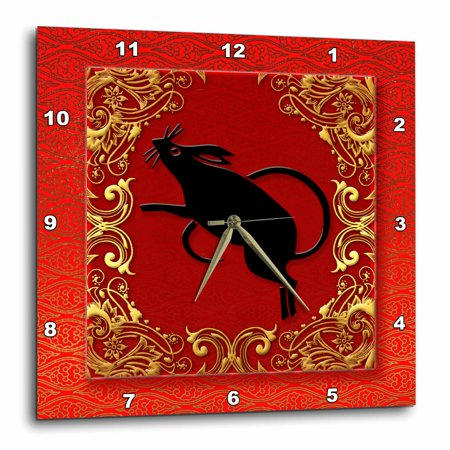 3dRose Chinese Zodiac Year of the Rat Chinese New Year Red, Gold and Black , Wall Clock, 15 by 15-inch - Year Of 2017 Chinese Zodiac