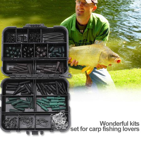 Terminal Rigs Accessory,HURRISE Carp Fishing Tackle Kit Box Swivels Hooks Sleeves Soft Beads Tubes Clips Set Accessory
