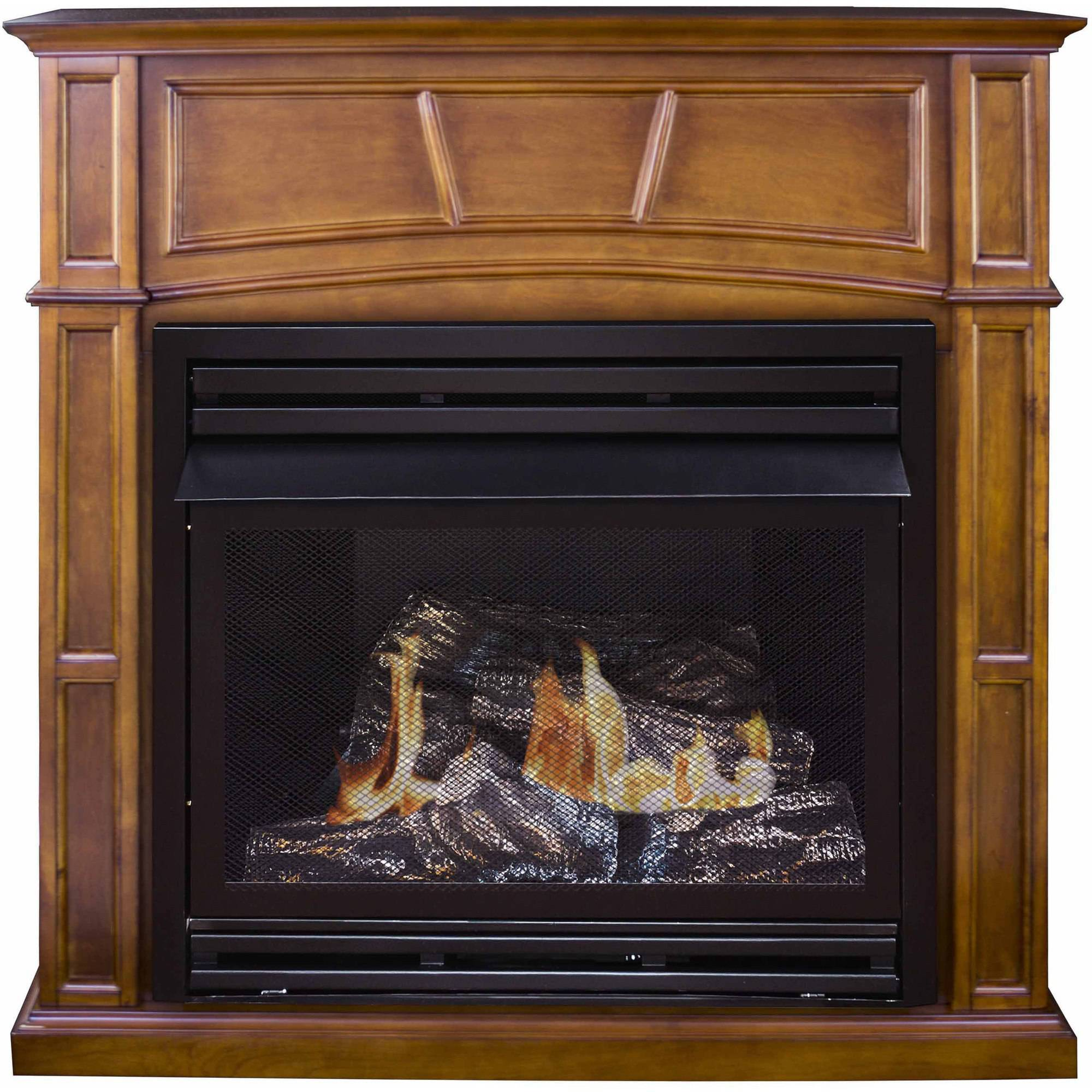 "Pleasant Hearth VFF-PHFSDR-2C 46"" Full Size Cherry Vent-Free Fireplace System, 32,000 BTUs"