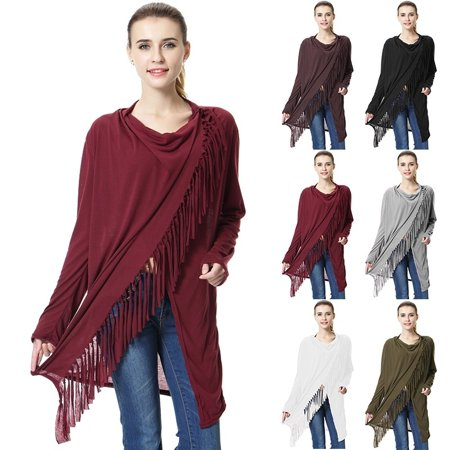 Women's Irregular Tassel Cotton Blend Cardigan Loose Sweater Outwear Jacket Poncho Coat Collar Cotton Women Poncho