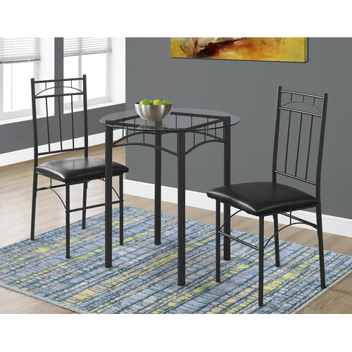 Monarch Dining Set 3Pcs Set / Black Metal / Tempered Glass