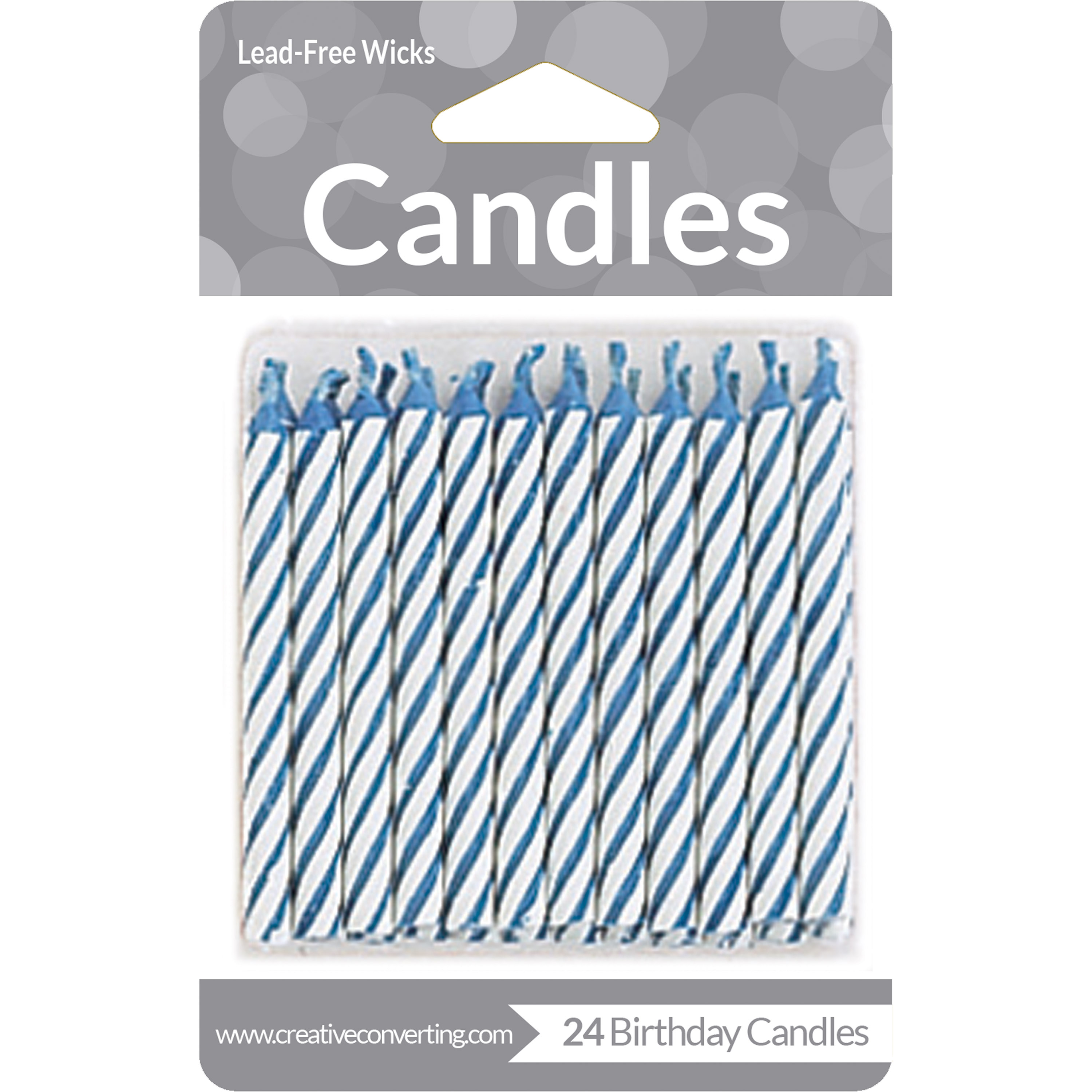 Blue Striped Candles, 24 pk