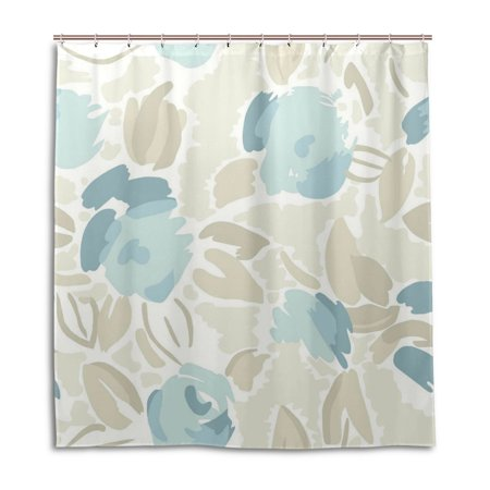 POPCreation Watercolor Peony Shower Curtain Waterproof Bathroom