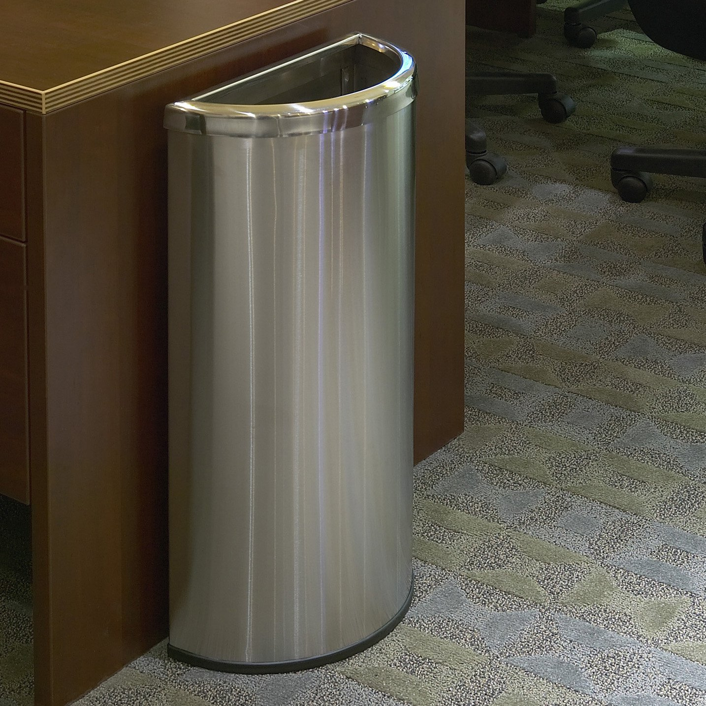 commercial zone precision series stainless steel half moon commercial trash can - Commercial Trash Cans