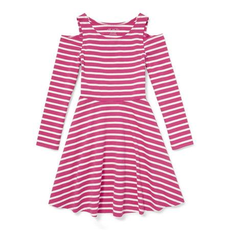 Long Sleeve Cold Shoulder Jersey Dress (Little Girls & Big Girls) - Frozen Dress For Little Girls