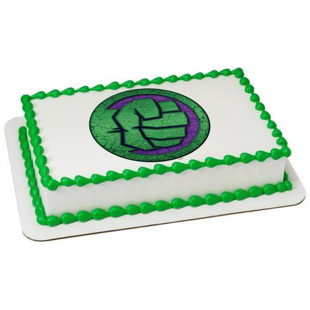 Marvel's Avengers Hulk Icon 1/4 Sheet Image Cake Topper Edible Birthday Party - Avengers Birthday Cake Toppers