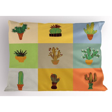 Vintage Pillow Sham Botanical Cactus Flowers in Vase Succulent Peyote Essence Tropical Polka Dots Motif, Decorative Standard Size Printed Pillowcase, 26 X 20 Inches, Multicolor, by Ambesonne