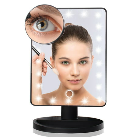 Black / White Fashion Makeup Mirror with 22 LED Light for Women, 12-Inch Large Screen Makeup Mirror for Party, Touch Dimmable and Memory - Black And White Makeup For Halloween