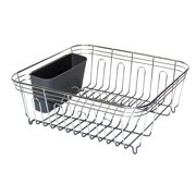 Real Home Small Deluxe Chrome and Gray Dish Drainer