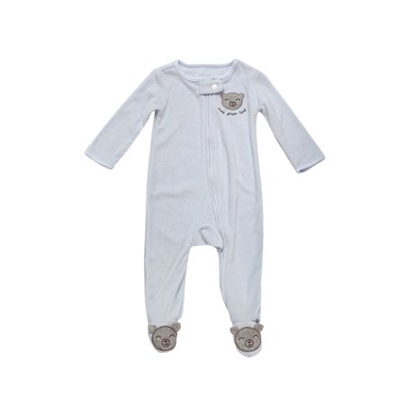0-6 Months Baby Loose Fit Super Soft Terry Footed Sleep and Play Pajamas Blue