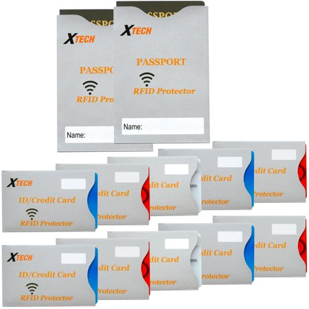 Xtech Rfid Protectors For Id Cards   Credit Cards  10 Pack    Xtech Rfid Protectors For Passports  2 Pack  Protects From Radio Frequency Id