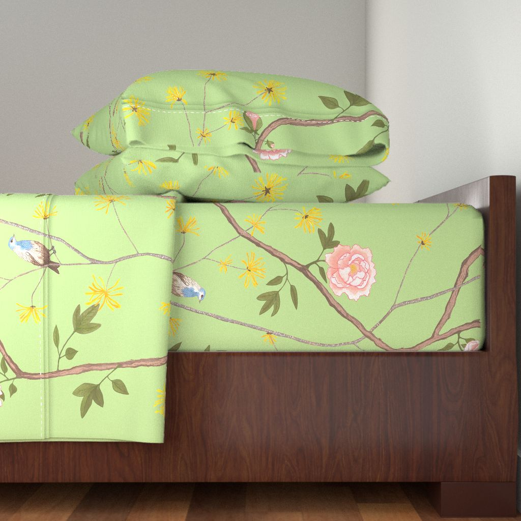 Chinoiserie Bird Butterfly Green Flower 100% Cotton Sateen Sheet Set by Roostery