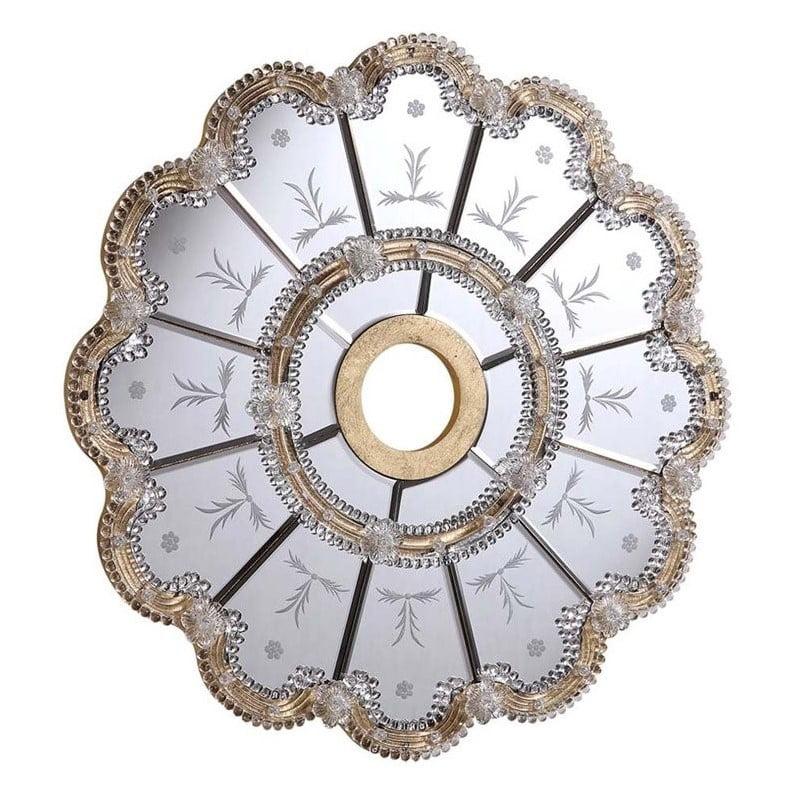 "Elegant Lighting 32"" Mirrored Medallion Ceiling Canopy in Gold"