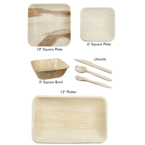 Leaf & Fiber 175 Piece Palm Leaf Picnic Plates and Bowls Set