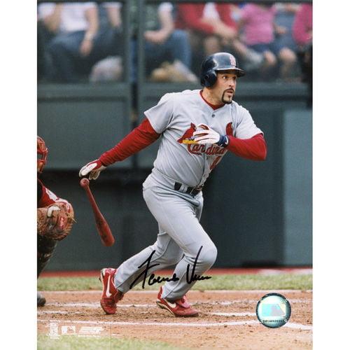 "Fernando Vina St. Louis Cardinals Autographed 8"" x 10"" Gray Jersey Swinging Photograph"