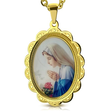 Stainless Steel Yellow Gold-Tone Icon Picture Virgin Mary Religious Amulet Pendant Necklace (Amulet Pendant Necklace)