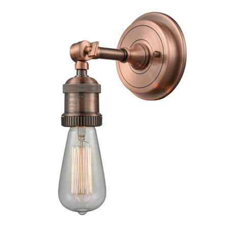 """Innovations 1-LT Bare Bulb 4.5"""" Sconce With 5"""" Backplate - Antique Copper - 202BP-AC"""