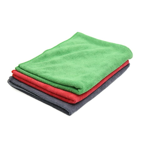 3 Pcs High Absorbing Microfiber Fabric Car Clean Cloth Towel Protective for Auto Car Windscreen Red Green (Best Microfiber Upholstery Cleaner)