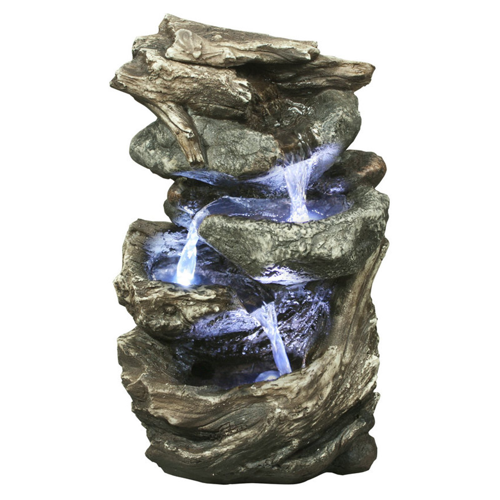 Hi-Line Log and Stone waterfall Fountain with LED Light by Hi-Line Gift Ltd.