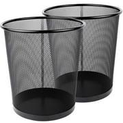 Greenco Mesh Wastebasket Trash Can, 4.5 Gallon, Black, 2 Pack