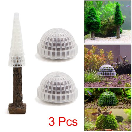 2Pcs Brown Plastic Moss Tree Trunk Moss Ball Aquarium Fish Tank Decor