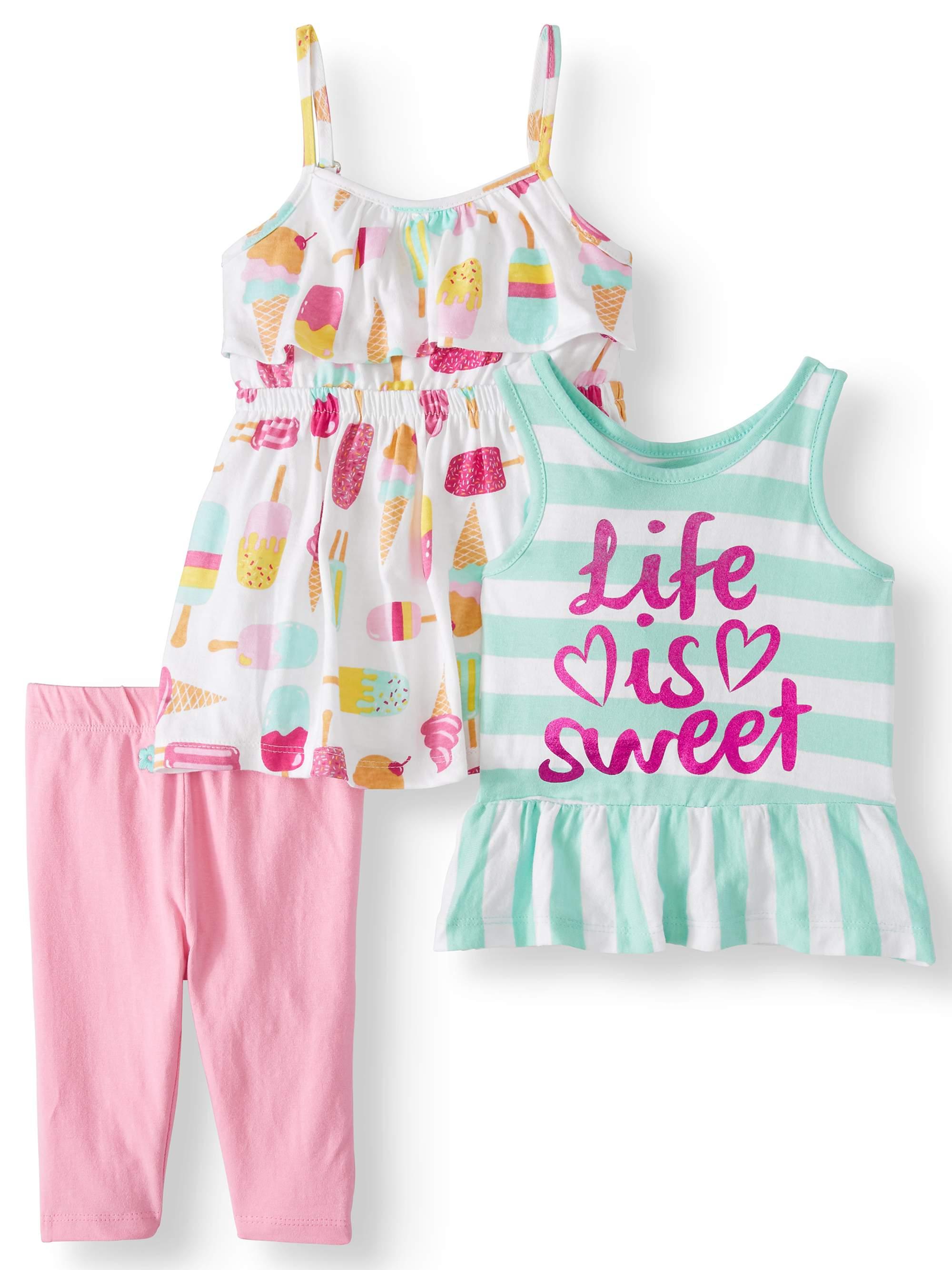Printed Tank Top, Sleeveless Dress & Leggings, 3pc Outfit Set (Baby Girls & Toddler Girls)