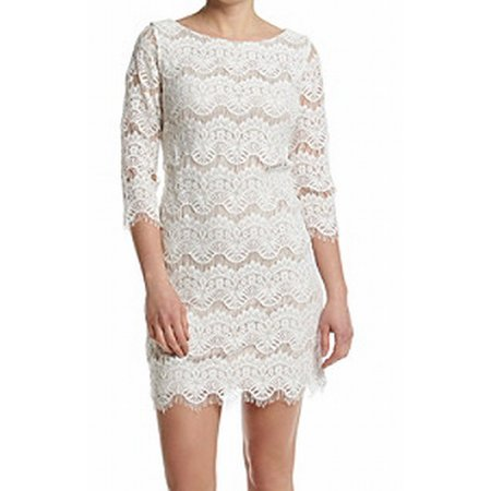Jessica Howard New White Womens Size 16 Sheath Floral Lace Dress
