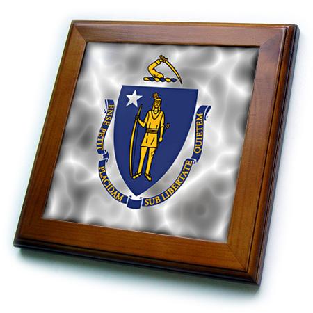 3dRose Massachusetts State Flag - Framed Tile, 6 by 6-inch