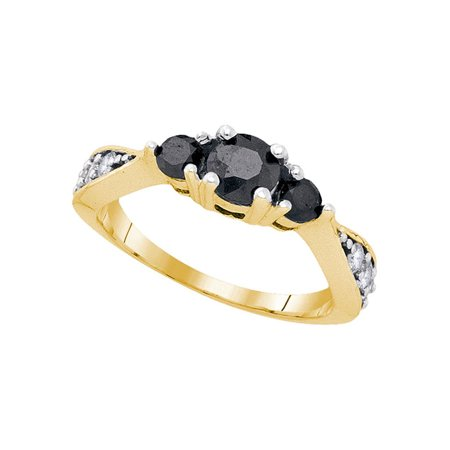 10kt Yellow Gold Womens Round Black Color Enhanced Diamond 3-stone Bridal Wedding Engagement Ring 7/8 Cttw - April Wedding Colors