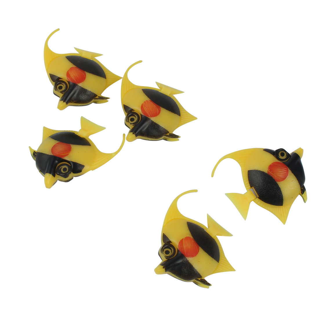 Aquarium Plastic Simulated Floating Fish Decoration Ornament Yellow Black 5pcs