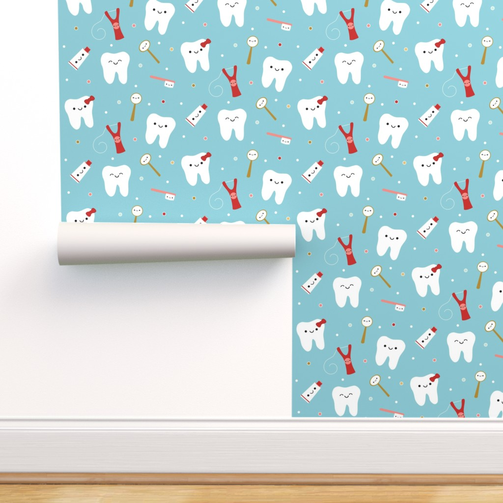 Repositionable FREE SHIPPING Wallpaper for Dentist Office Tooth Teeth Toothbrush Black and White Peel /& Stick Wallpaper