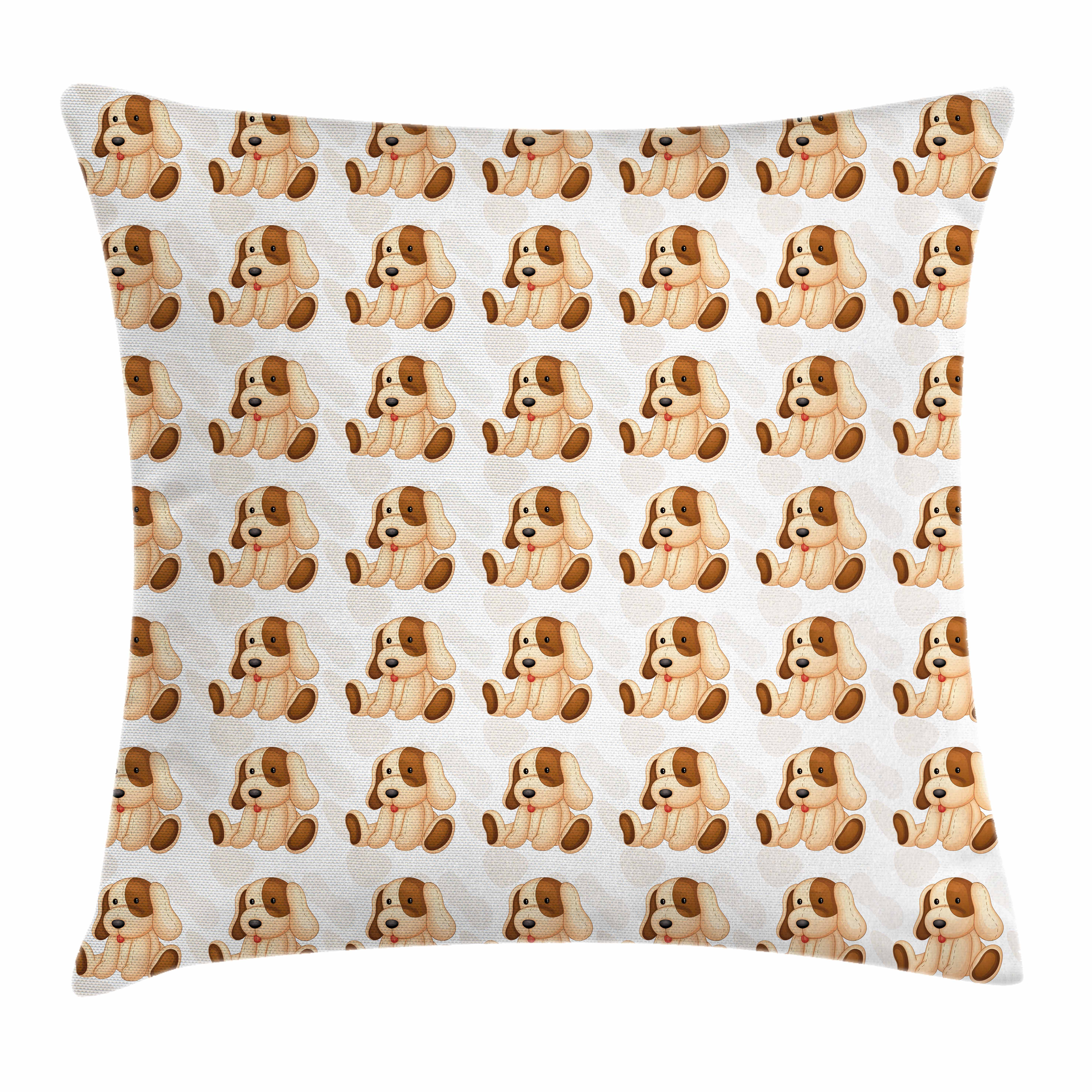 Dog Lover Throw Pillow Cushion Cover, Stuffed Toy Design Children Plaything Digitally Composed Animal Sitting Position, Decorative Square Accent Pillow Case, 16 X 16 Inches, Beige Brown, by Ambesonne