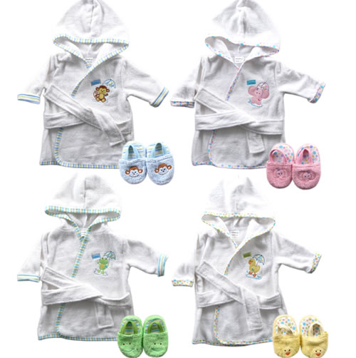 "Baby Boys' ""Umbrella Monkey"" Bathrobe & Slippers Set"