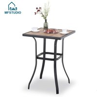 MF Studio Patio Bar Table, Outdoor Bar Height Bistro Table with Wooden-Like Top & Metal Frame
