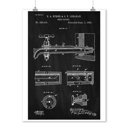 Blackboard Patent - Beer Tap - Lantern Press Artwork (9x12 Art Print, Wall Decor Travel Poster) ()